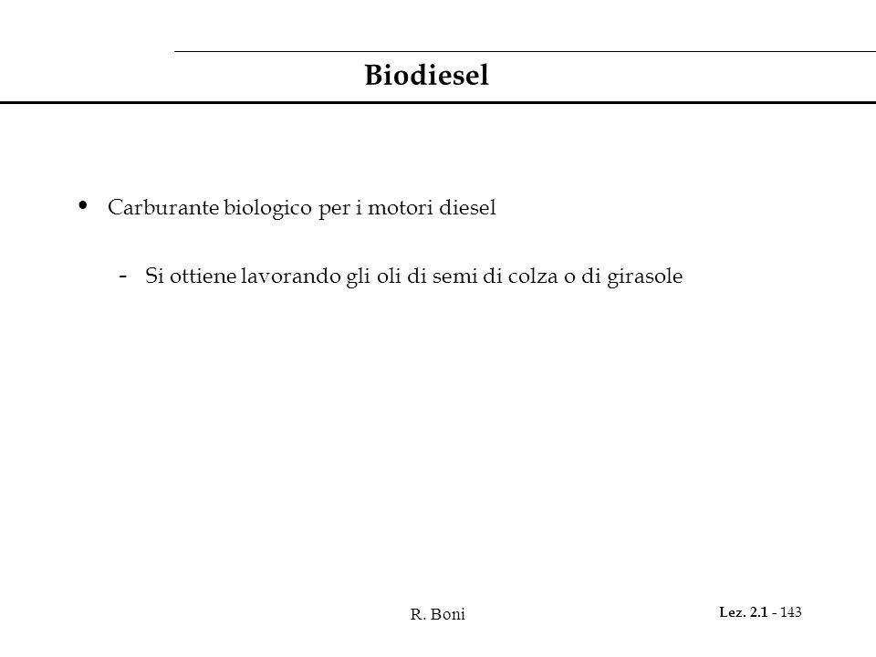 R. Boni Lez. 2.1 - 143 Biodiesel Carburante biologico per i motori diesel - Si ottiene lavorando gli oli di semi di colza o di girasole