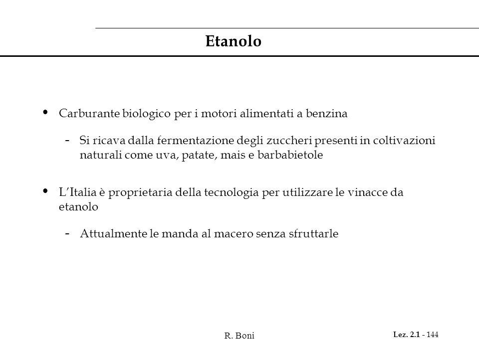 R. Boni Lez. 2.1 - 144 Etanolo Carburante biologico per i motori alimentati a benzina - Si ricava dalla fermentazione degli zuccheri presenti in colti