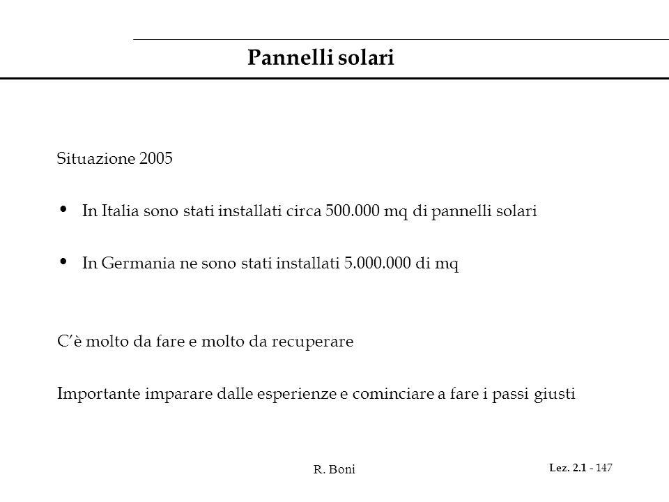 R. Boni Lez. 2.1 - 147 Pannelli solari Situazione 2005 In Italia sono stati installati circa 500.000 mq di pannelli solari In Germania ne sono stati i