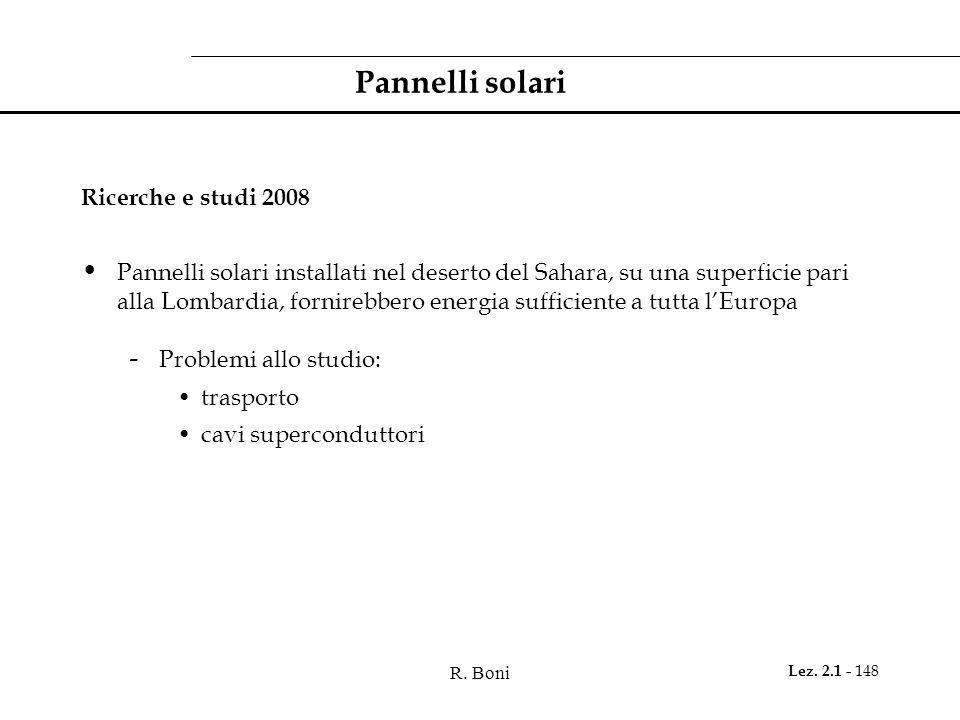 R. Boni Lez. 2.1 - 148 Pannelli solari Ricerche e studi 2008 Pannelli solari installati nel deserto del Sahara, su una superficie pari alla Lombardia,