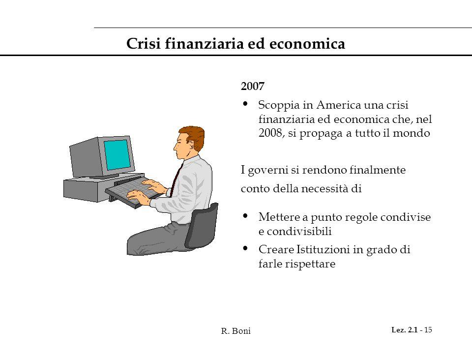 R. Boni Lez. 2.1 - 15 Crisi finanziaria ed economica 2007 Scoppia in America una crisi finanziaria ed economica che, nel 2008, si propaga a tutto il m