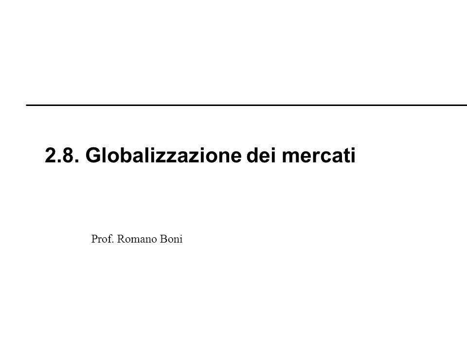 R. Boni Lez. 2.1 - 150 Prof. Romano Boni 2.8. Globalizzazione dei mercati