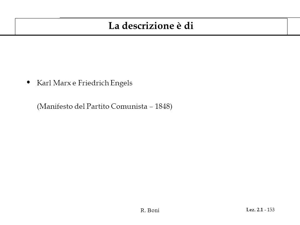 R. Boni Lez. 2.1 - 153 La descrizione è di Karl Marx e Friedrich Engels (Manifesto del Partito Comunista – 1848)