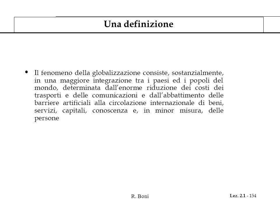 R. Boni Lez. 2.1 - 154 Una definizione Il fenomeno della globalizzazione consiste, sostanzialmente, in una maggiore integrazione tra i paesi ed i popo