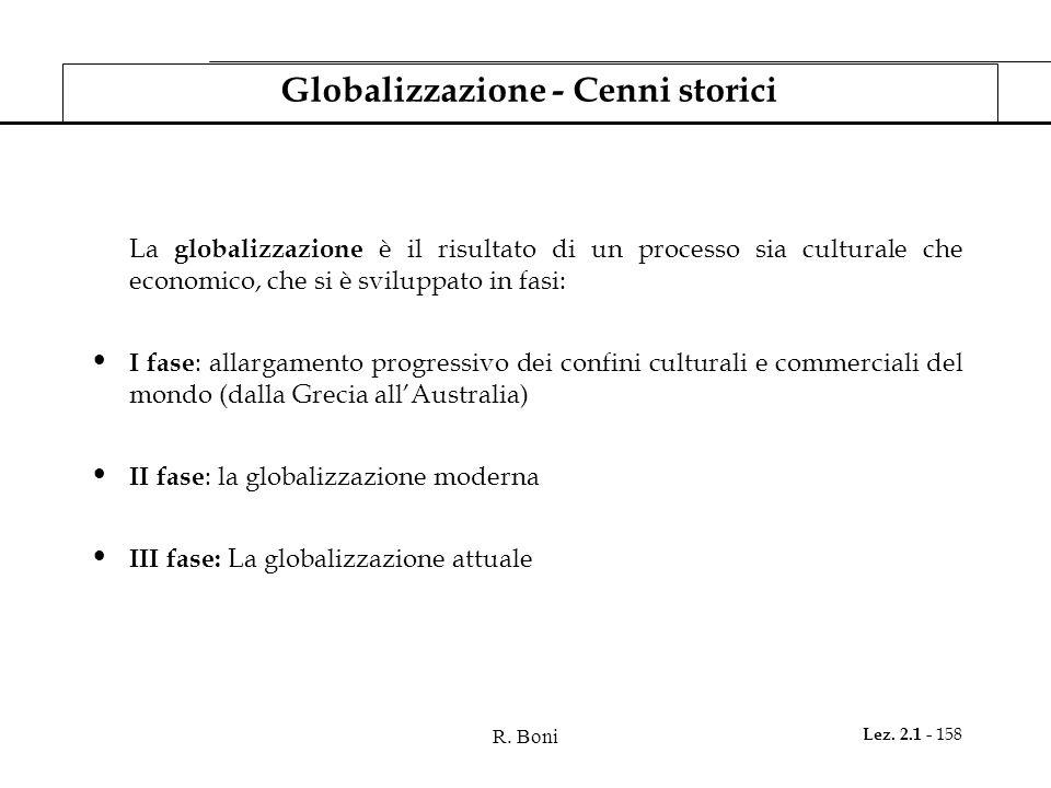 R. Boni Lez. 2.1 - 158 Globalizzazione - Cenni storici La globalizzazione è il risultato di un processo sia culturale che economico, che si è sviluppa
