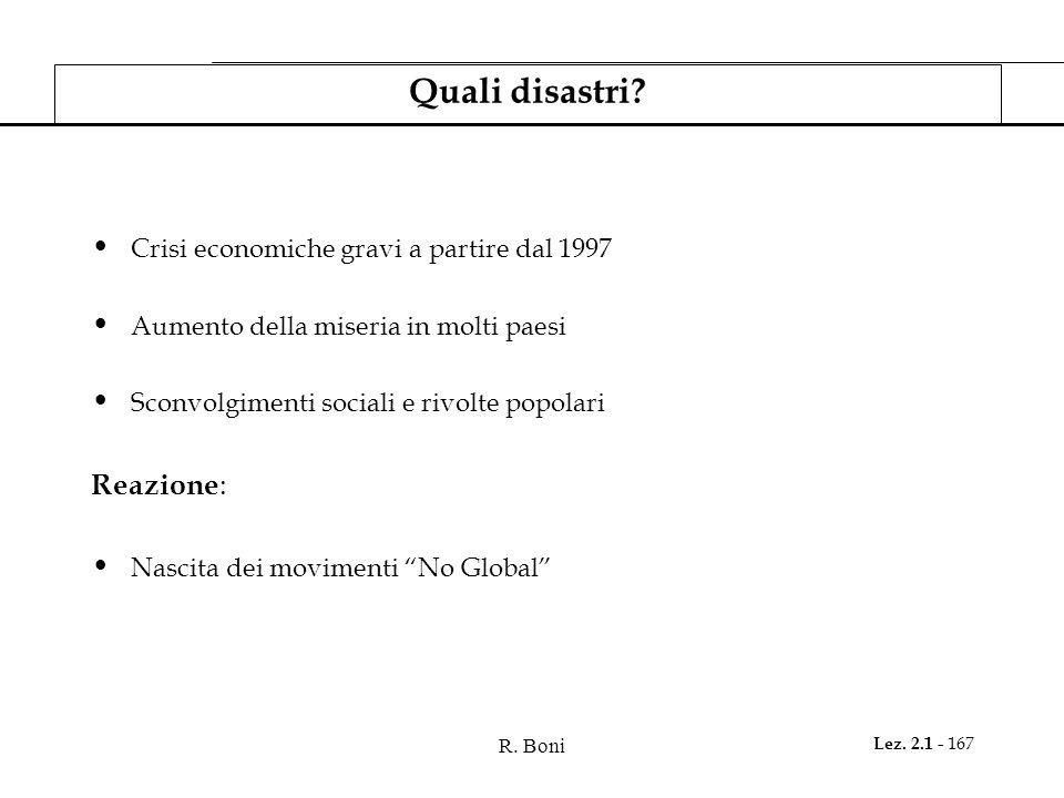 R. Boni Lez. 2.1 - 167 Quali disastri? Crisi economiche gravi a partire dal 1997 Aumento della miseria in molti paesi Sconvolgimenti sociali e rivolte