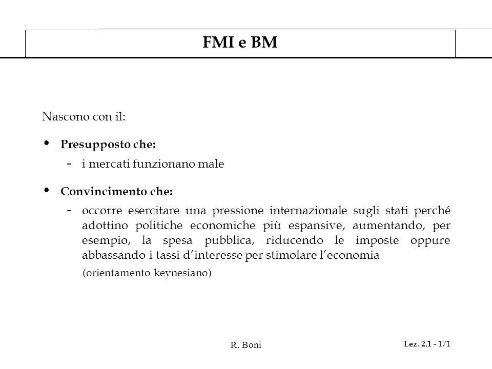 R. Boni Lez. 2.1 - 171 FMI e BM Nascono con il: Presupposto che: - i mercati funzionano male Convincimento che: - occorre esercitare una pressione int