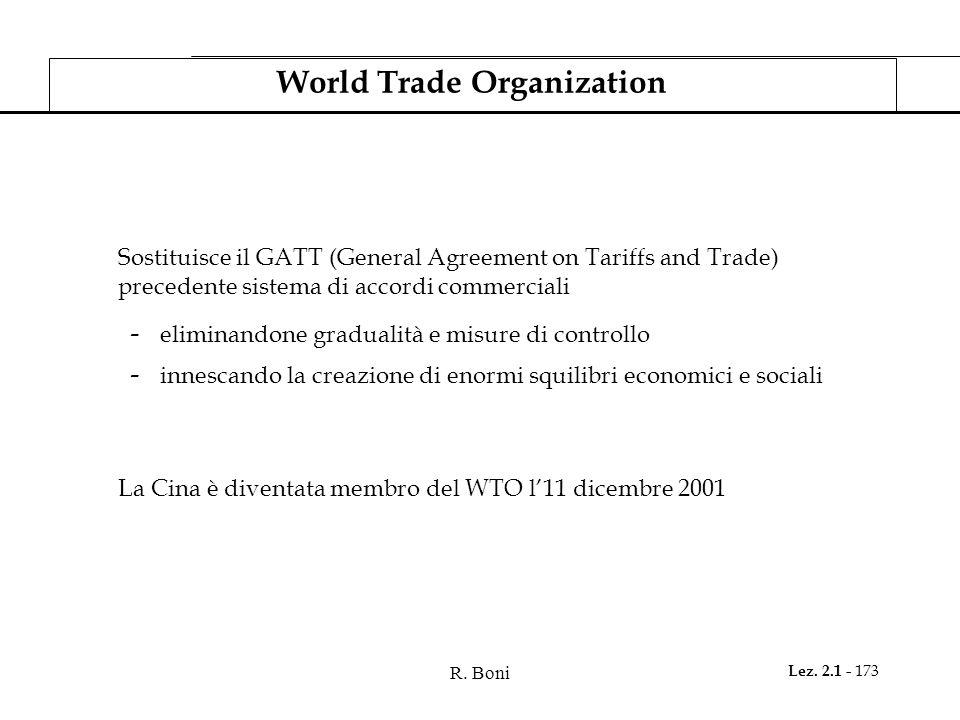 R. Boni Lez. 2.1 - 173 World Trade Organization Sostituisce il GATT (General Agreement on Tariffs and Trade) precedente sistema di accordi commerciali