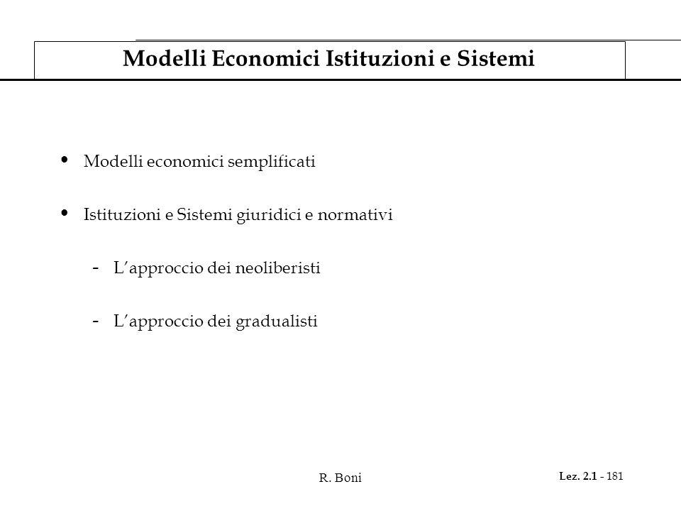 R. Boni Lez. 2.1 - 181 Modelli Economici Istituzioni e Sistemi Modelli economici semplificati Istituzioni e Sistemi giuridici e normativi - L'approcci