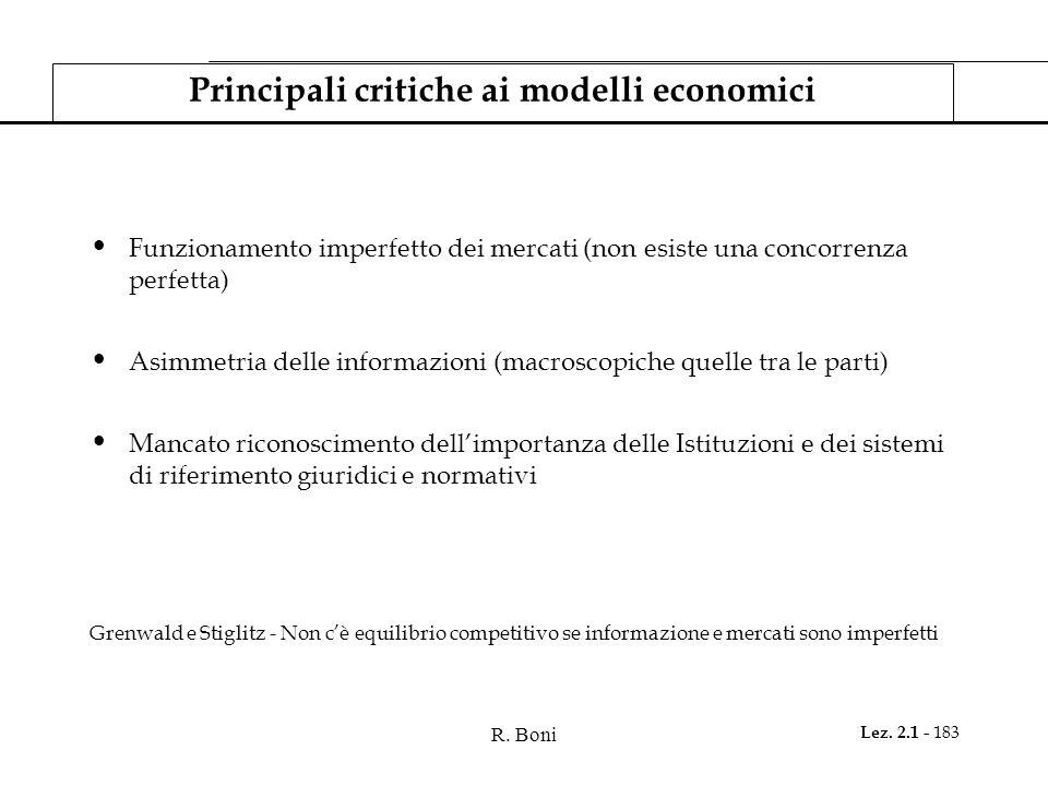 R. Boni Lez. 2.1 - 183 Principali critiche ai modelli economici Funzionamento imperfetto dei mercati (non esiste una concorrenza perfetta) Asimmetria