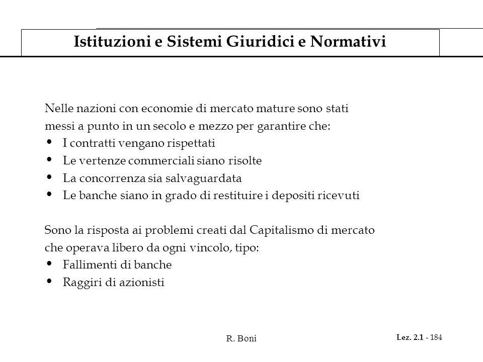 R. Boni Lez. 2.1 - 184 Istituzioni e Sistemi Giuridici e Normativi Nelle nazioni con economie di mercato mature sono stati messi a punto in un secolo