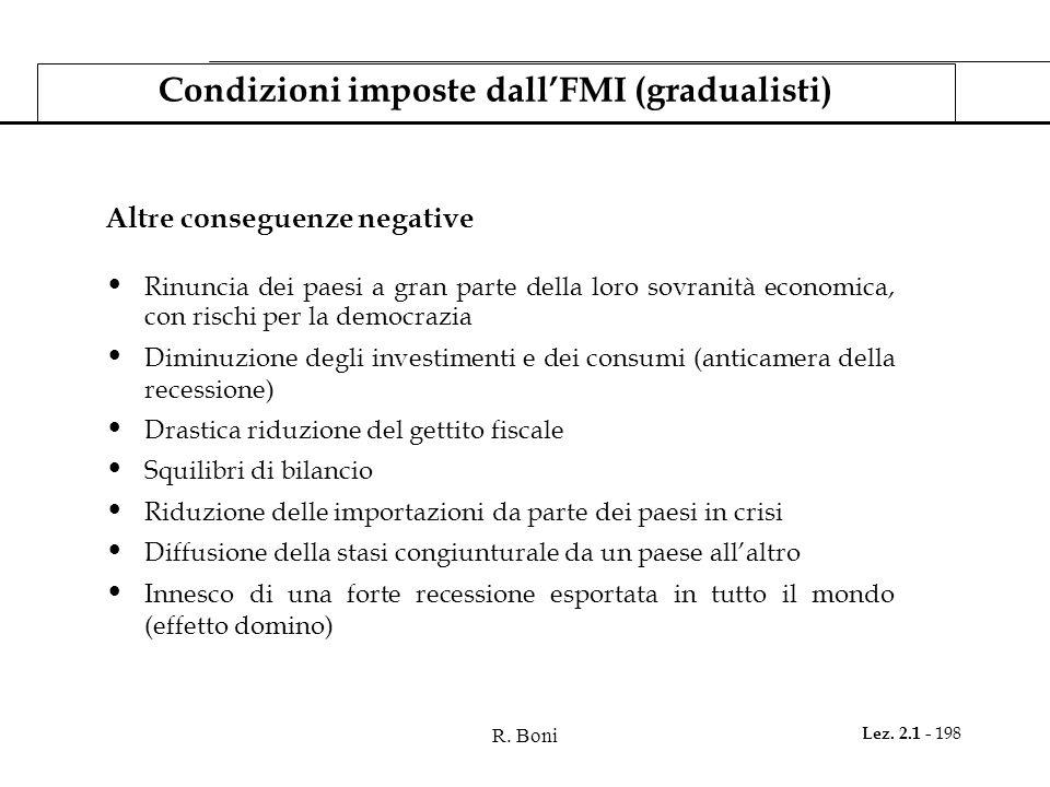 R. Boni Lez. 2.1 - 198 Condizioni imposte dall'FMI (gradualisti) Altre conseguenze negative Rinuncia dei paesi a gran parte della loro sovranità econo