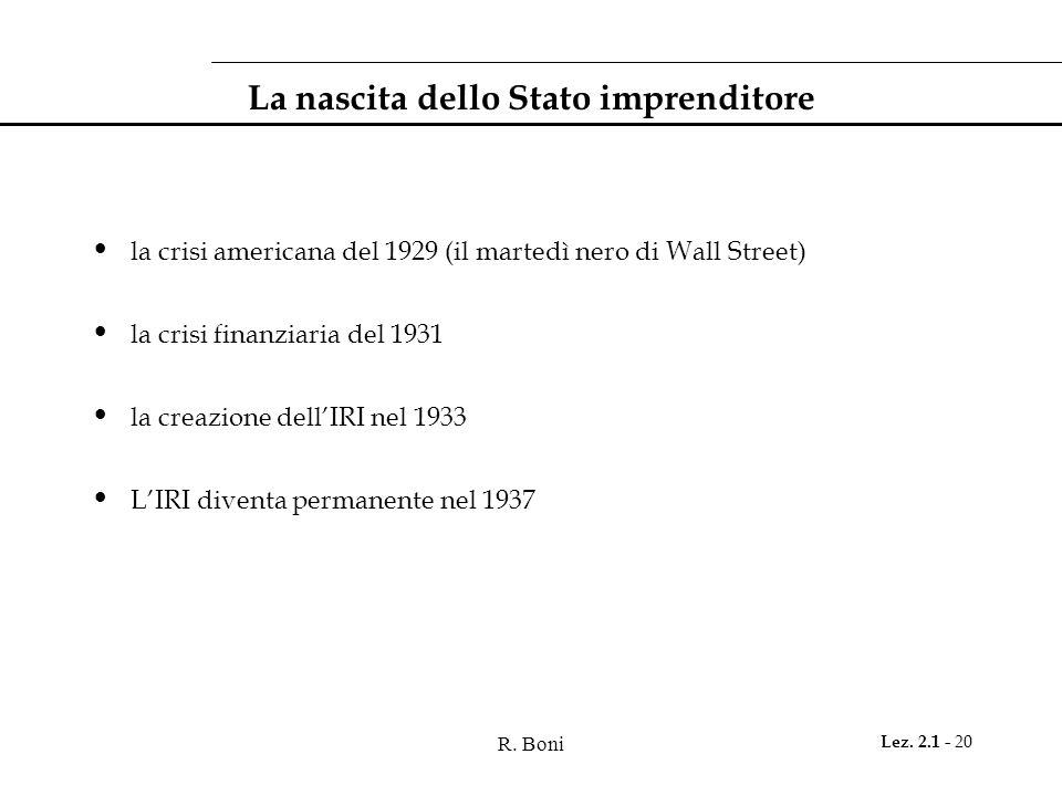 R. Boni Lez. 2.1 - 20 La nascita dello Stato imprenditore la crisi americana del 1929 (il martedì nero di Wall Street) la crisi finanziaria del 1931 l