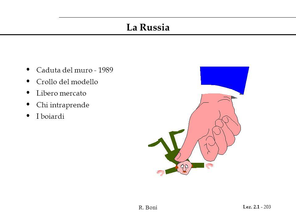 R. Boni Lez. 2.1 - 203 La Russia Caduta del muro - 1989 Crollo del modello Libero mercato Chi intraprende I boiardi