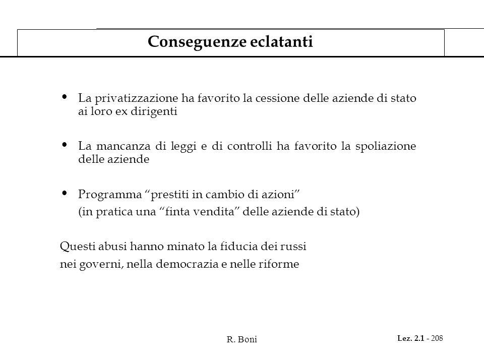R. Boni Lez. 2.1 - 208 Conseguenze eclatanti La privatizzazione ha favorito la cessione delle aziende di stato ai loro ex dirigenti La mancanza di leg