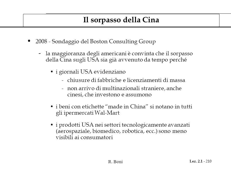 R. Boni Lez. 2.1 - 210 Il sorpasso della Cina 2008 - Sondaggio del Boston Consulting Group - la maggioranza degli americani è convinta che il sorpasso