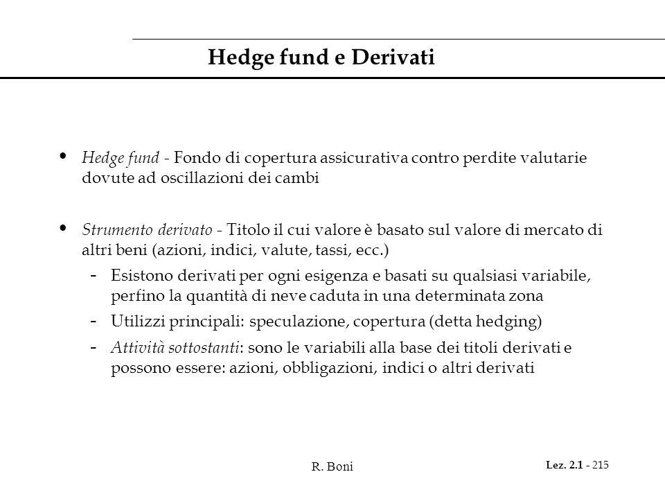 R. Boni Lez. 2.1 - 215 Hedge fund e Derivati Hedge fund - Fondo di copertura assicurativa contro perdite valutarie dovute ad oscillazioni dei cambi St