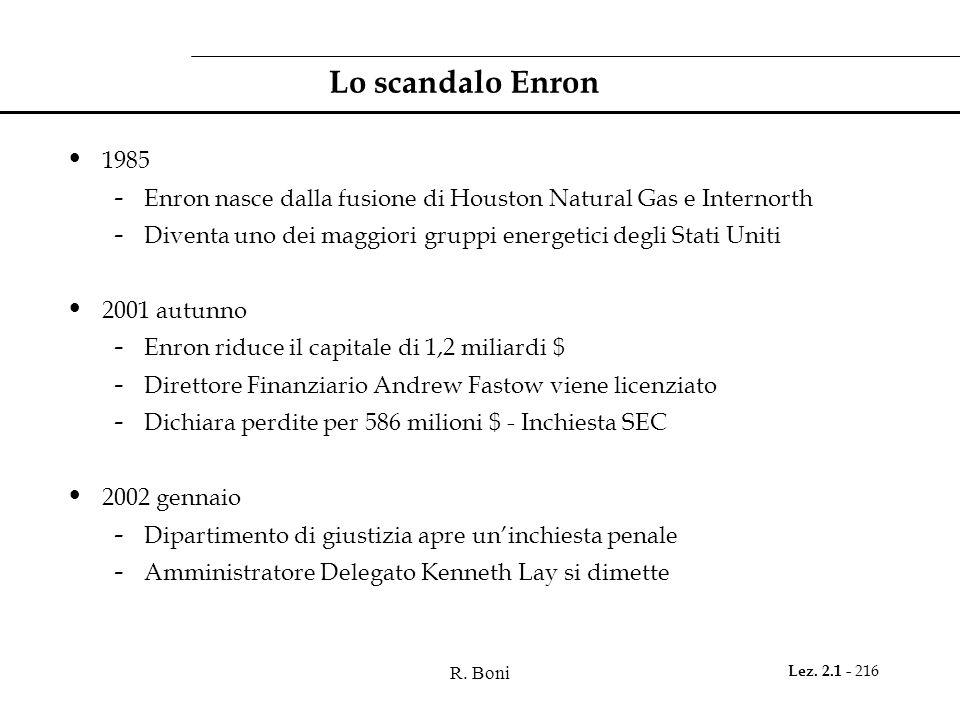 R. Boni Lez. 2.1 - 216 Lo scandalo Enron 1985 - Enron nasce dalla fusione di Houston Natural Gas e Internorth - Diventa uno dei maggiori gruppi energe