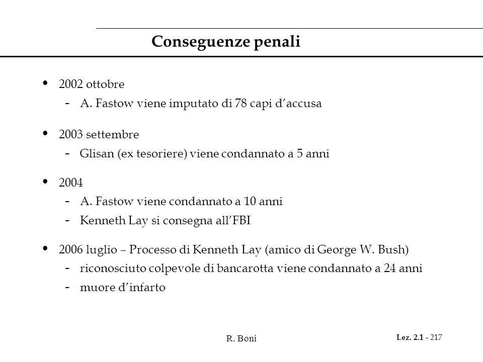 R. Boni Lez. 2.1 - 217 Conseguenze penali 2002 ottobre - A. Fastow viene imputato di 78 capi d'accusa 2003 settembre - Glisan (ex tesoriere) viene con