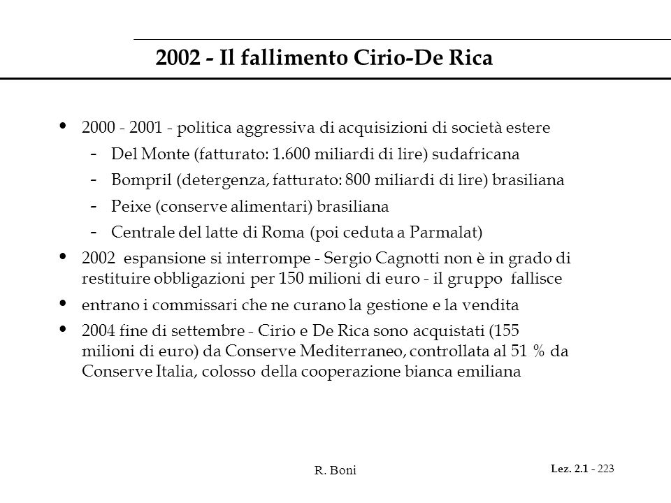 R. Boni Lez. 2.1 - 223 2002 - Il fallimento Cirio-De Rica 2000 - 2001 - politica aggressiva di acquisizioni di società estere - Del Monte (fatturato: