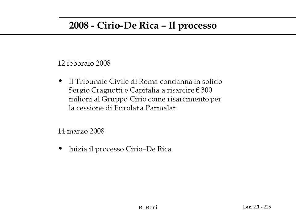 R. Boni Lez. 2.1 - 225 2008 - Cirio-De Rica – Il processo 12 febbraio 2008 Il Tribunale Civile di Roma condanna in solido Sergio Cragnotti e Capitalia
