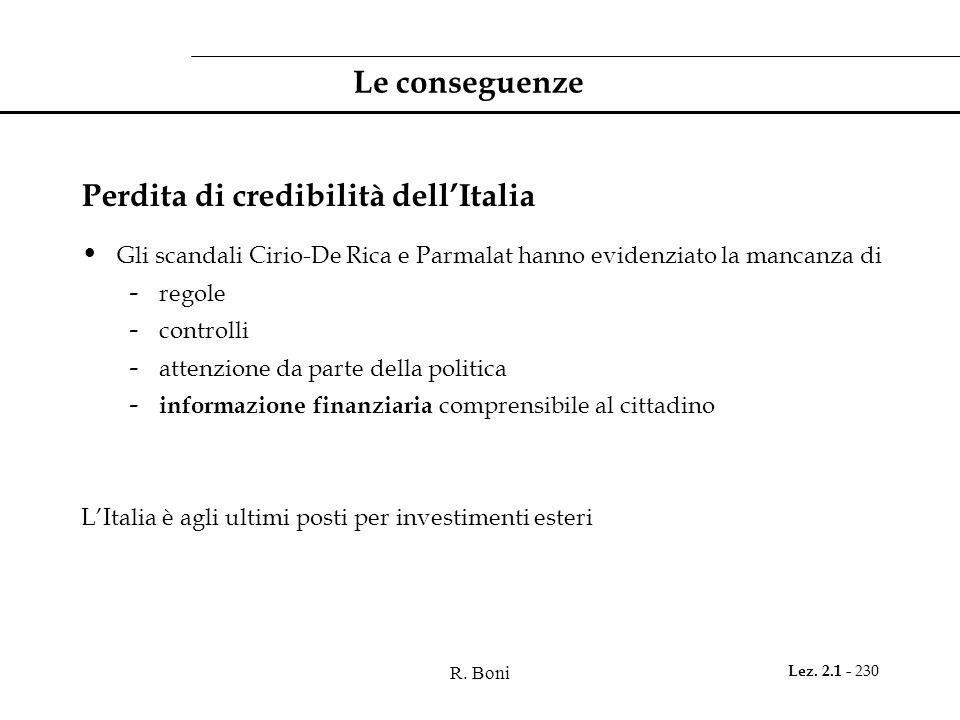 R. Boni Lez. 2.1 - 230 Le conseguenze Perdita di credibilità dell'Italia Gli scandali Cirio-De Rica e Parmalat hanno evidenziato la mancanza di - rego
