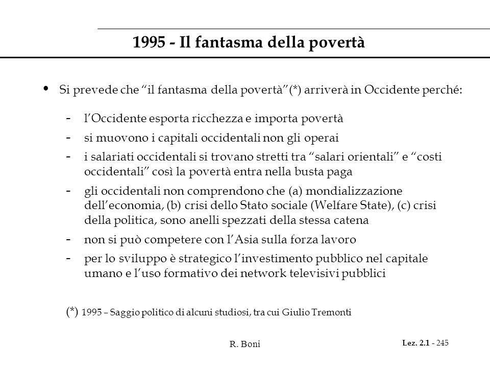 """R. Boni Lez. 2.1 - 245 1995 - Il fantasma della povertà Si prevede che """"il fantasma della povertà""""(*) arriverà in Occidente perché: - l'Occidente espo"""