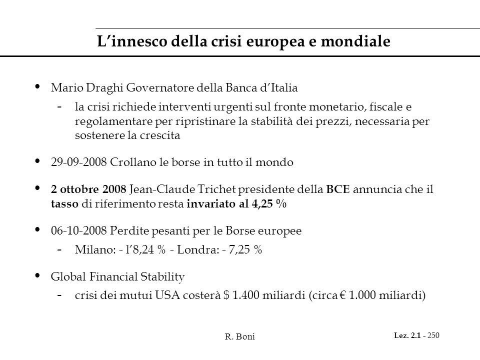 R. Boni Lez. 2.1 - 250 L'innesco della crisi europea e mondiale Mario Draghi Governatore della Banca d'Italia - la crisi richiede interventi urgenti s