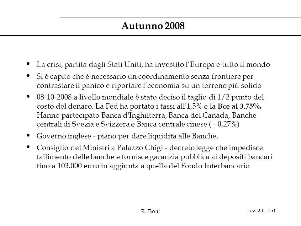 R. Boni Lez. 2.1 - 251 Autunno 2008 La crisi, partita dagli Stati Uniti, ha investito l'Europa e tutto il mondo Si è capito che è necessario un coordi