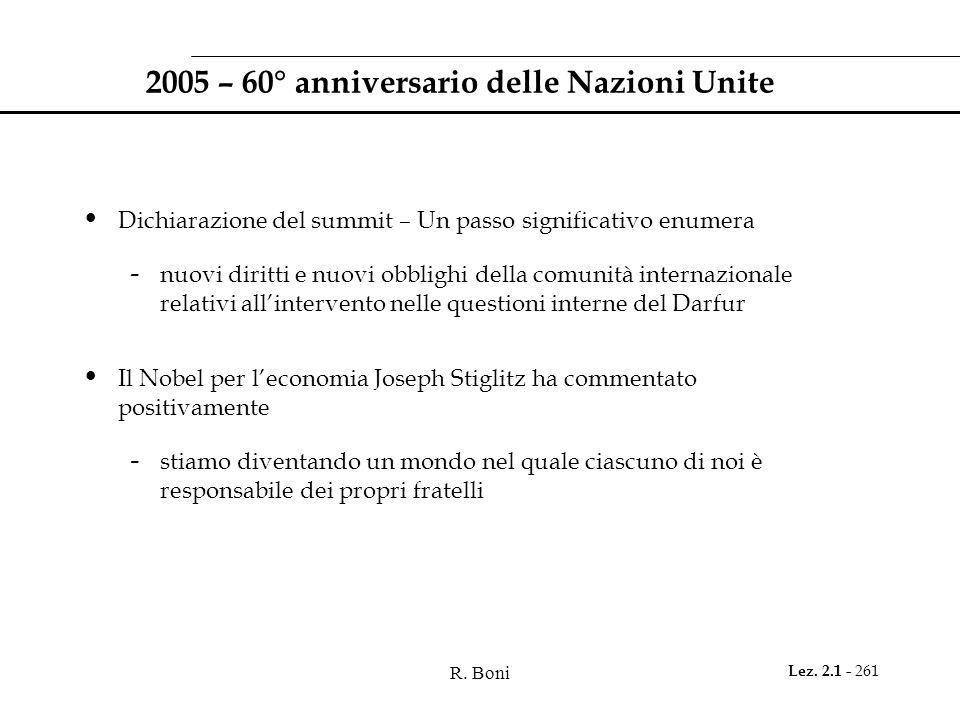 R. Boni Lez. 2.1 - 261 2005 – 60° anniversario delle Nazioni Unite Dichiarazione del summit – Un passo significativo enumera - nuovi diritti e nuovi o