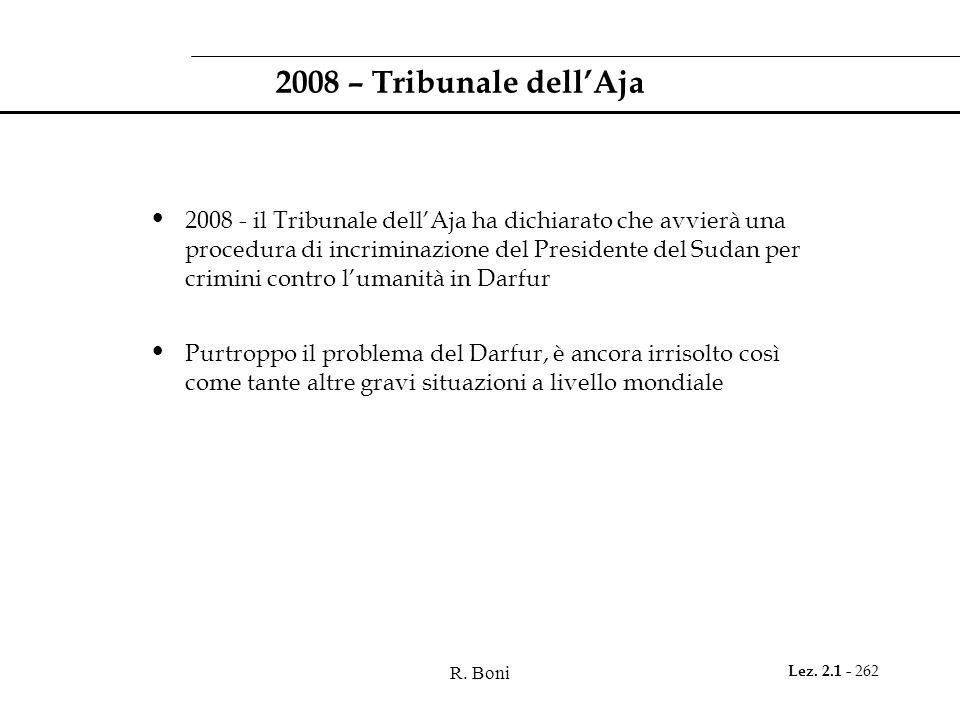 R. Boni Lez. 2.1 - 262 2008 – Tribunale dell'Aja 2008 - il Tribunale dell'Aja ha dichiarato che avvierà una procedura di incriminazione del Presidente