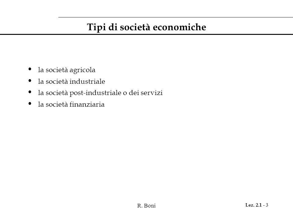 R. Boni Lez. 2.1 - 3 Tipi di società economiche la società agricola la società industriale la società post-industriale o dei servizi la società finanz