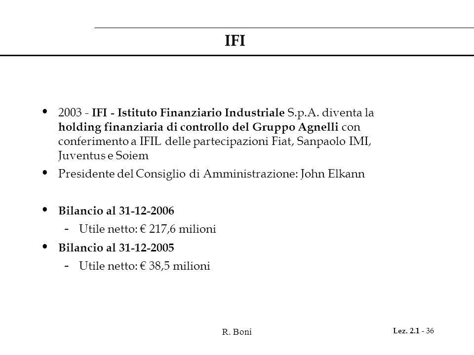 R. Boni Lez. 2.1 - 36 IFI 2003 - IFI - Istituto Finanziario Industriale S.p.A. diventa la holding finanziaria di controllo del Gruppo Agnelli con conf