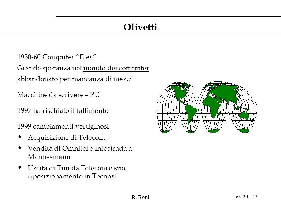 """R. Boni Lez. 2.1 - 42 Olivetti 1950-60 Computer """"Elea"""" Grande speranza nel mondo dei computer abbandonato per mancanza di mezzi Macchine da scrivere –"""