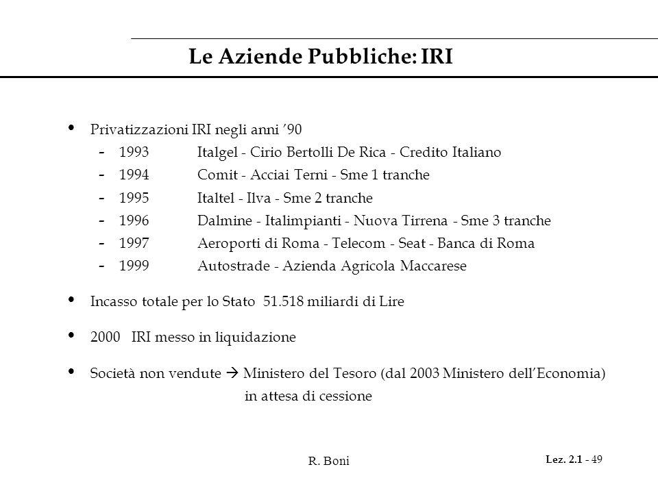 R. Boni Lez. 2.1 - 49 Le Aziende Pubbliche: IRI Privatizzazioni IRI negli anni '90 - 1993 Italgel - Cirio Bertolli De Rica - Credito Italiano - 1994Co