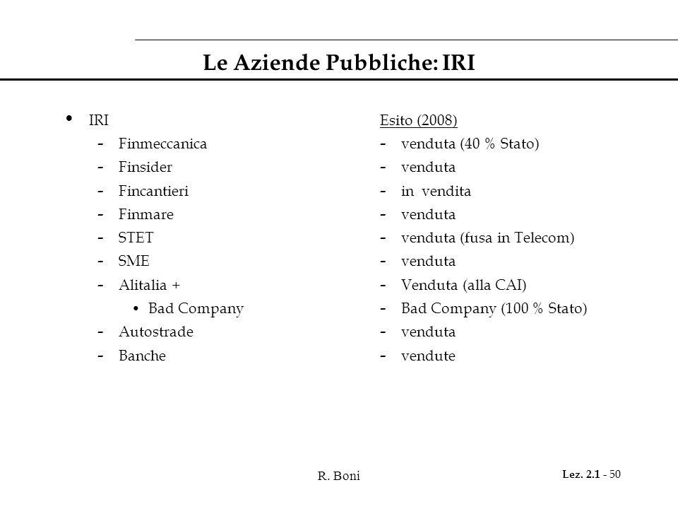 R. Boni Lez. 2.1 - 50 Le Aziende Pubbliche: IRI IRI - Finmeccanica - Finsider - Fincantieri - Finmare - STET - SME - Alitalia + Bad Company - Autostra