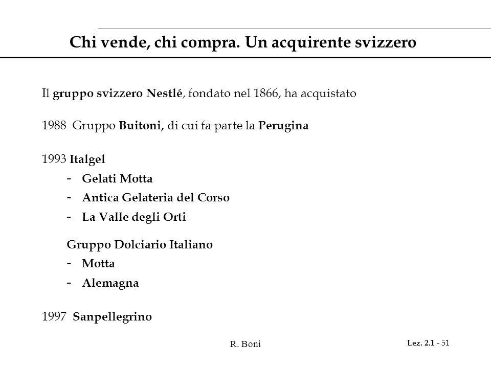 R. Boni Lez. 2.1 - 51 Chi vende, chi compra. Un acquirente svizzero Il gruppo svizzero Nestlé, fondato nel 1866, ha acquistato 1988 Gruppo Buitoni, di