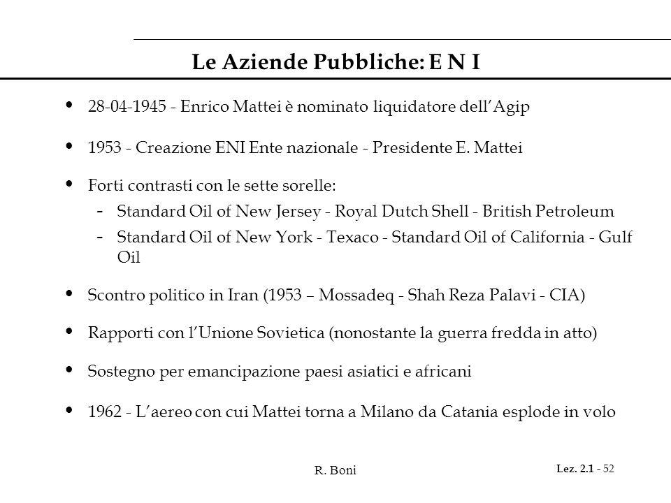 R. Boni Lez. 2.1 - 52 Le Aziende Pubbliche: E N I 28-04-1945 - Enrico Mattei è nominato liquidatore dell'Agip 1953 - Creazione ENI Ente nazionale - Pr