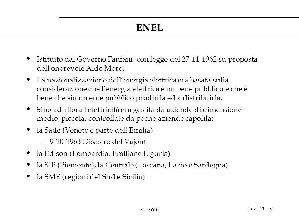 R. Boni Lez. 2.1 - 55 ENEL Istituito dal Governo Fanfani con legge del 27-11-1962 su proposta dell'onorevole Aldo Moro. La nazionalizzazione dell'ener