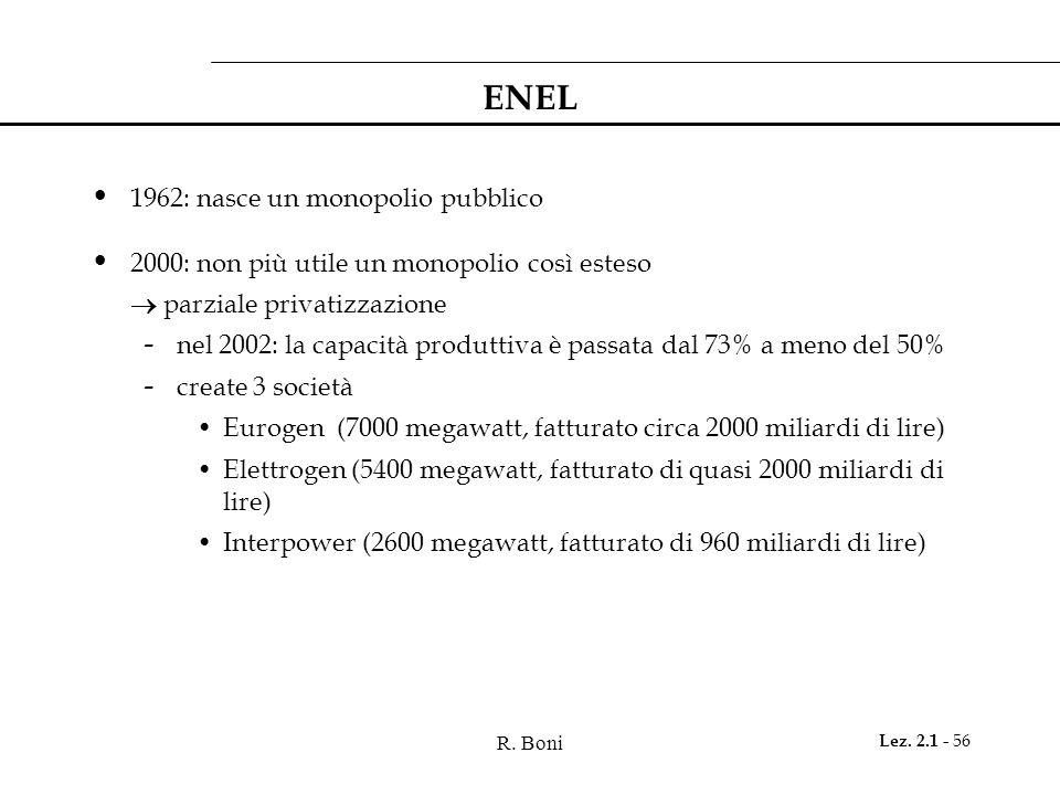 R. Boni Lez. 2.1 - 56 ENEL 1962: nasce un monopolio pubblico 2000: non più utile un monopolio così esteso  parziale privatizzazione - nel 2002: la ca