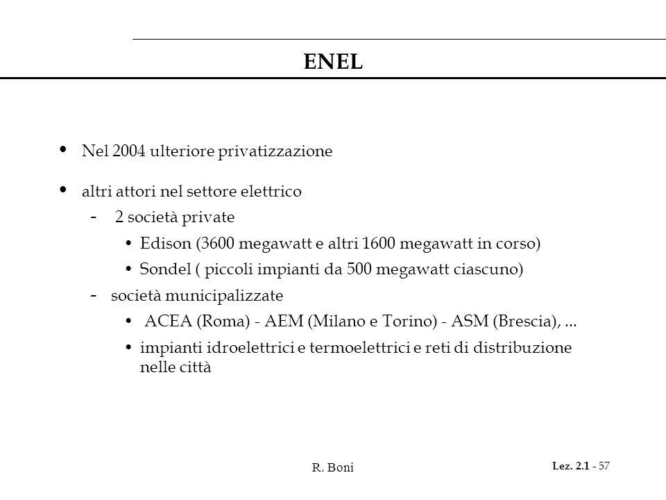 R. Boni Lez. 2.1 - 57 ENEL Nel 2004 ulteriore privatizzazione altri attori nel settore elettrico - 2 società private Edison (3600 megawatt e altri 160