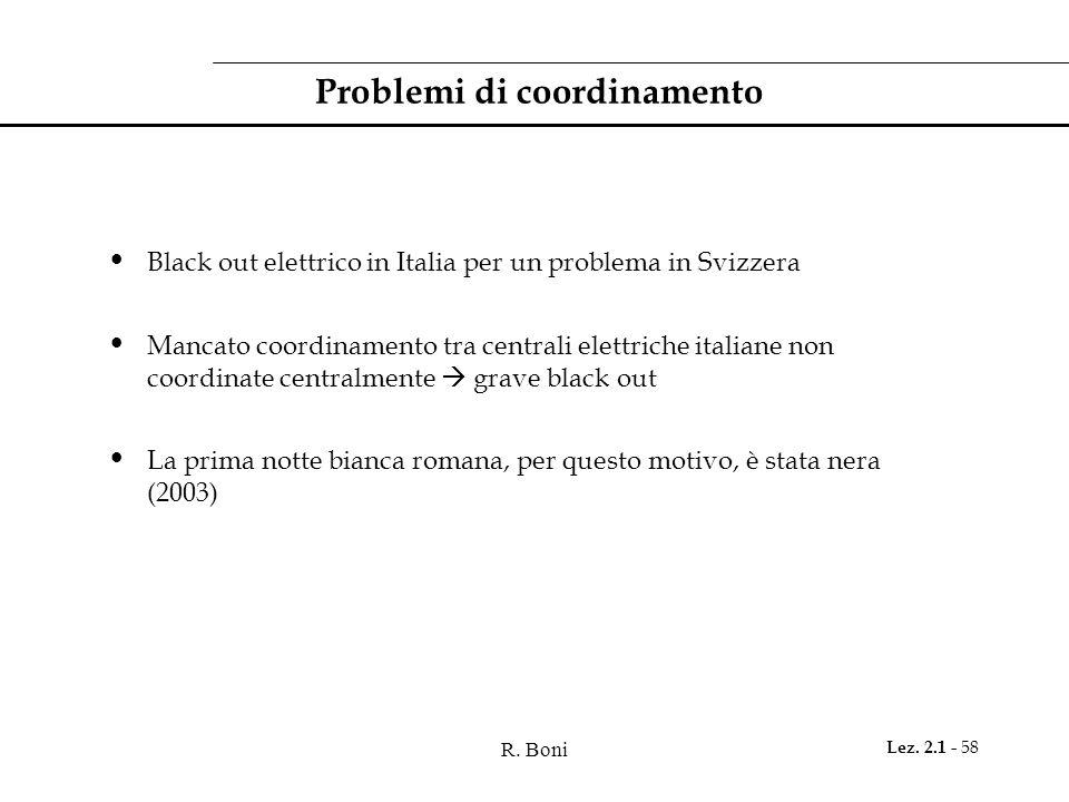R. Boni Lez. 2.1 - 58 Problemi di coordinamento Black out elettrico in Italia per un problema in Svizzera Mancato coordinamento tra centrali elettrich