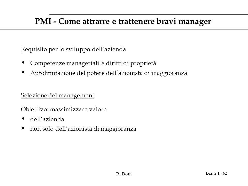 R. Boni Lez. 2.1 - 62 PMI - Come attrarre e trattenere bravi manager Requisito per lo sviluppo dell'azienda Competenze manageriali > diritti di propri