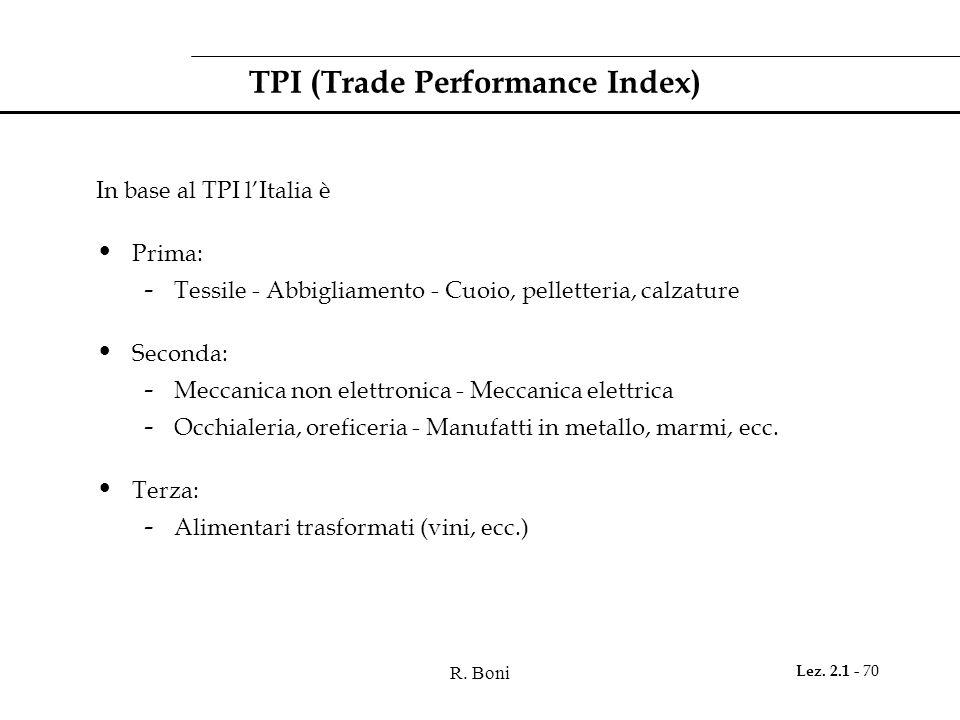 R. Boni Lez. 2.1 - 70 TPI (Trade Performance Index) In base al TPI l'Italia è Prima: - Tessile - Abbigliamento - Cuoio, pelletteria, calzature Seconda