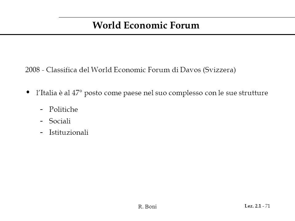 R. Boni Lez. 2.1 - 71 World Economic Forum 2008 - Classifica del World Economic Forum di Davos (Svizzera) l'Italia è al 47° posto come paese nel suo c