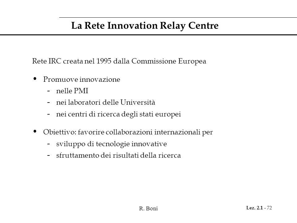 R. Boni Lez. 2.1 - 72 La Rete Innovation Relay Centre Rete IRC creata nel 1995 dalla Commissione Europea Promuove innovazione - nelle PMI - nei labora
