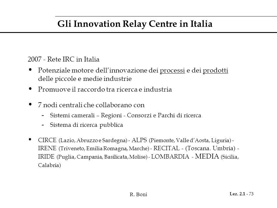 R. Boni Lez. 2.1 - 73 Gli Innovation Relay Centre in Italia 2007 - Rete IRC in Italia Potenziale motore dell'innovazione dei processi e dei prodotti d