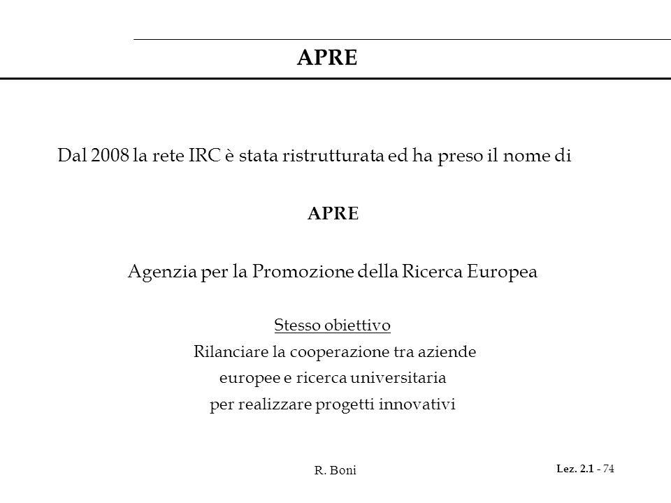 R. Boni Lez. 2.1 - 74 APRE Dal 2008 la rete IRC è stata ristrutturata ed ha preso il nome di APRE Agenzia per la Promozione della Ricerca Europea Stes