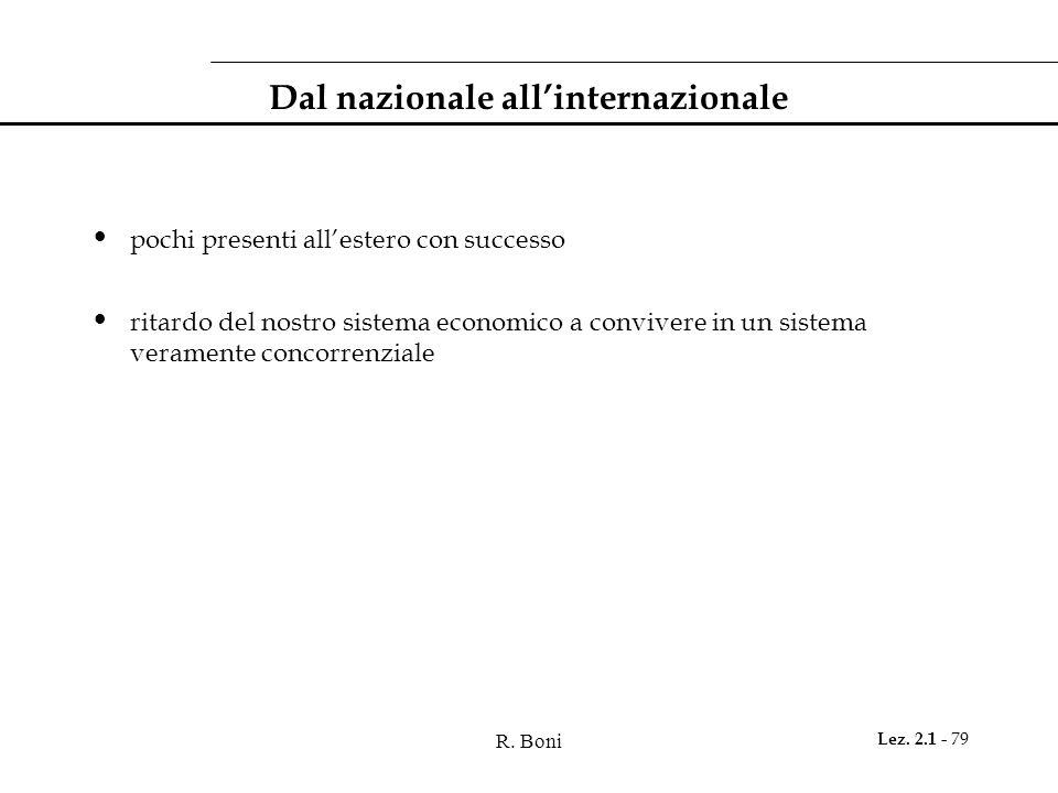 R. Boni Lez. 2.1 - 79 Dal nazionale all'internazionale pochi presenti all'estero con successo ritardo del nostro sistema economico a convivere in un s