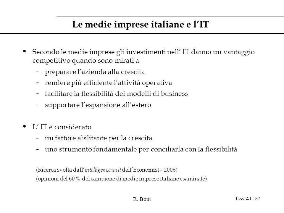 R. Boni Lez. 2.1 - 82 Le medie imprese italiane e l'IT Secondo le medie imprese gli investimenti nell' IT danno un vantaggio competitivo quando sono m
